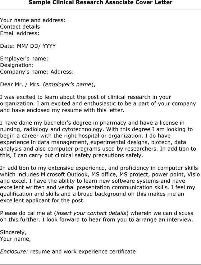 Cover Letter Research Associate