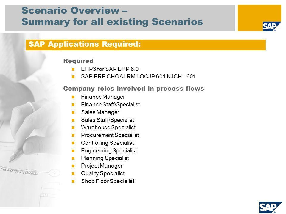 Overview of Scenarios This package comprises predefined business ...