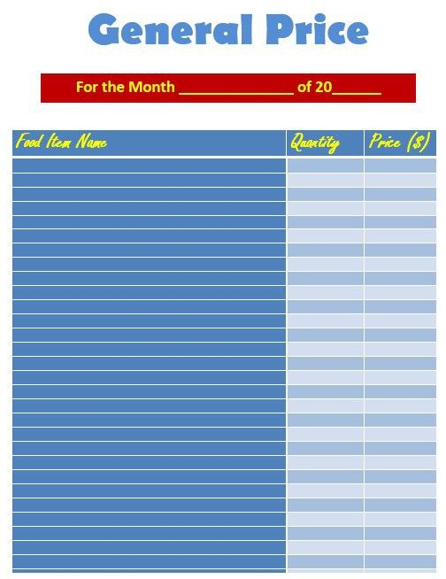 9 Free Sample Food Price List Templates – Printable Samples