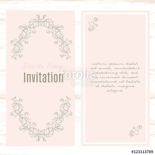greeting card template floral background. Design stationery set in ...