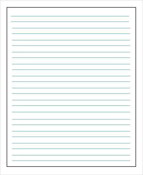Lined Paper Template. Handwriting Paper Template | Printable ...