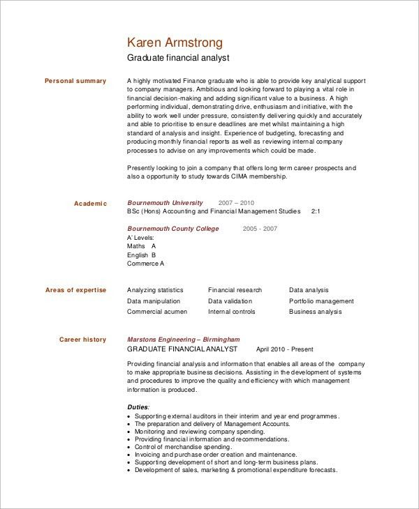Sample Financial Analyst Resume - 7+ Examples in Word, PDF