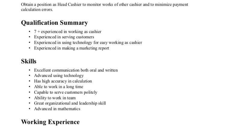 Experienced Cashier Resume Objective. how to write a perfect ...