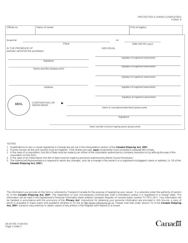Vessel Bill of Sale Form - Canada Free Download