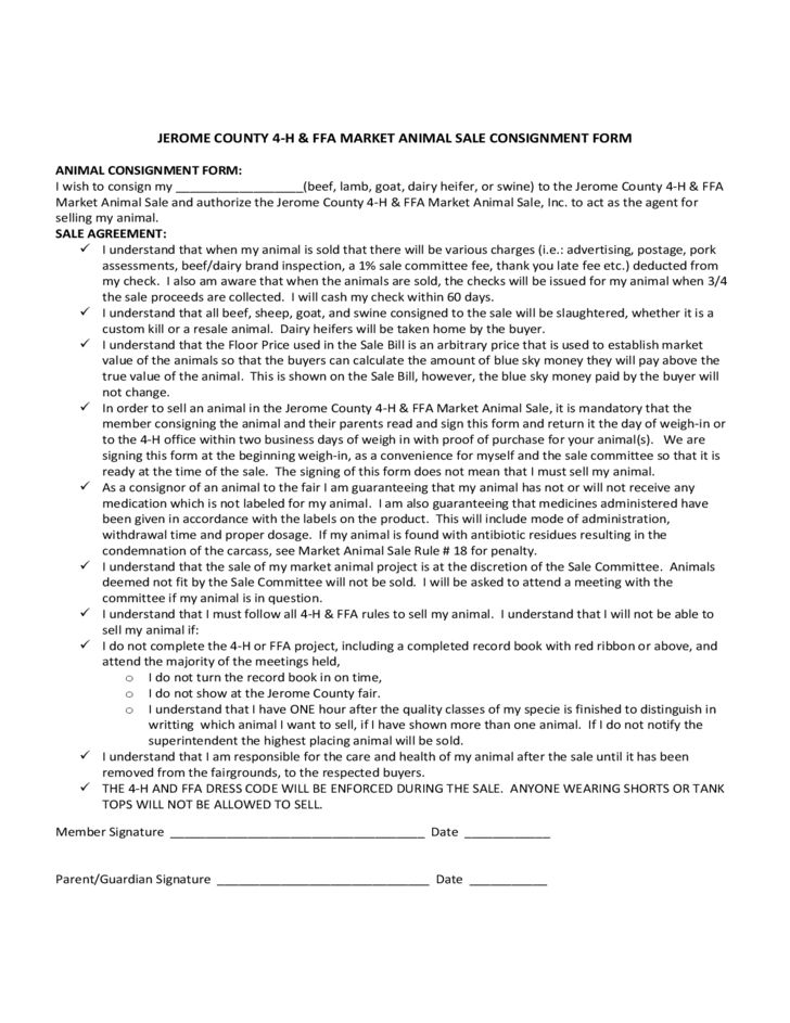 Livestock Bill of Sale Form - Idaho Free Download