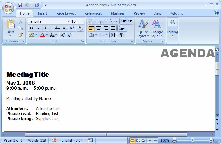 MS Word 2007: Create a template from an existing document