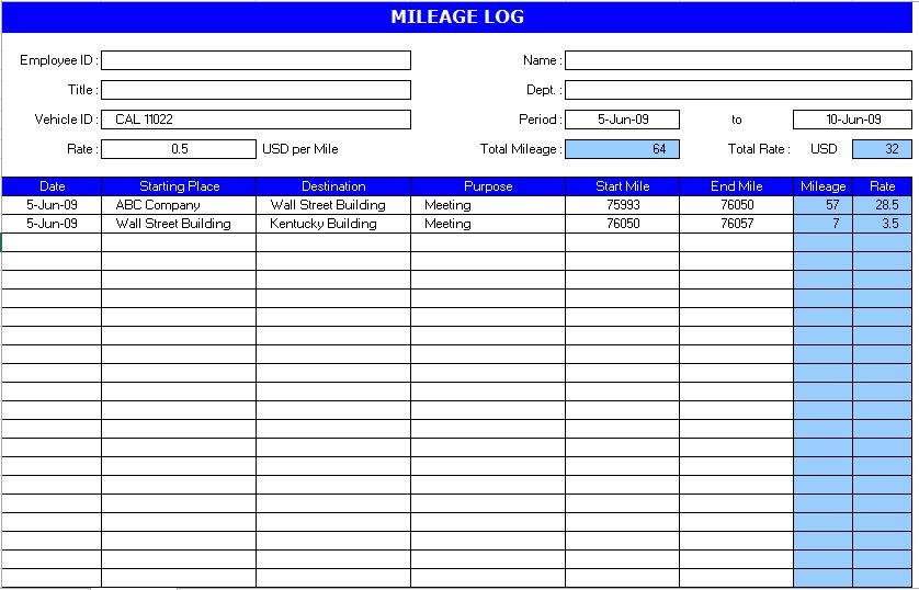 Auto Mileage Log Template | Microsoft Excel Templates