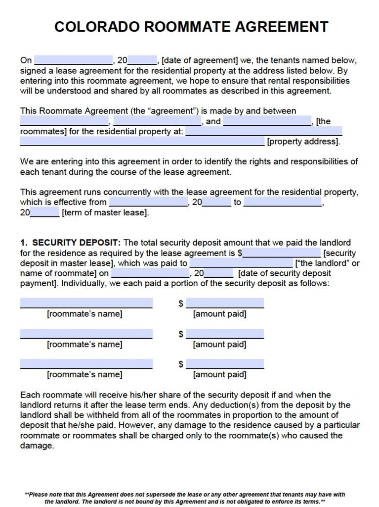 Free Colorado Roommate Agreement Template – PDF – Word