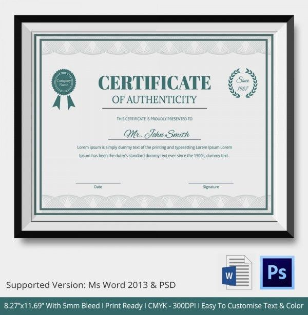 Certificate of Authenticity Template - 20+ Free Word, PDF, PSD ...