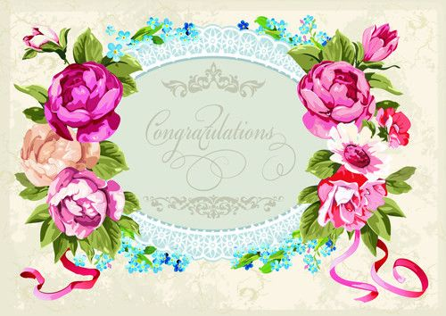 Vintage flower congratulation cards vector 05 – Over millions ...