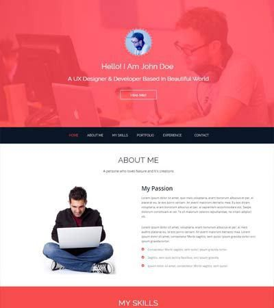 John Bootstrap One Page HTML5 Free Resume Template