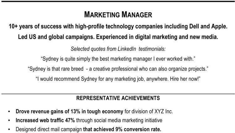 How to Write a Resume Summary sample profile marketing manager ...
