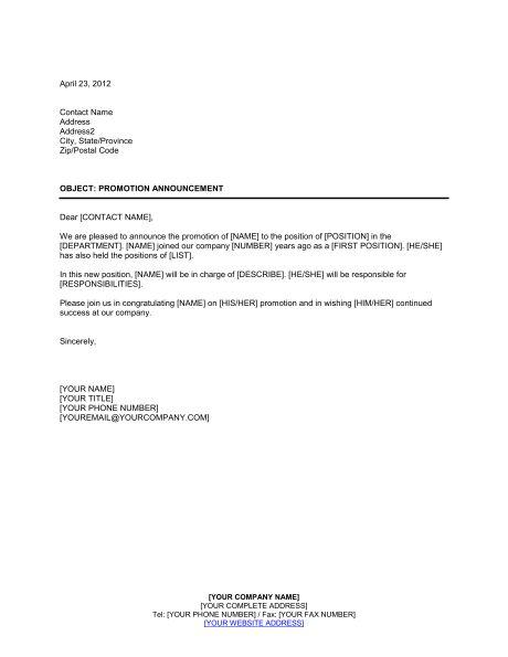 Promotion Announcement - Template & Sample Form | Biztree.com