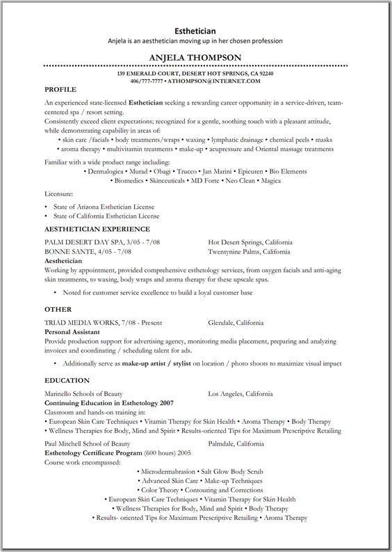 Beauty Resume Sample | We also have 1500+ free resume templates in ...