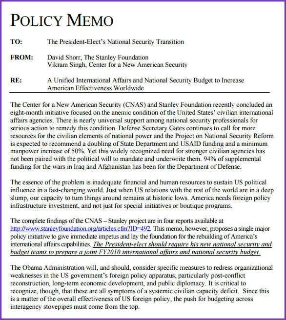 POLICY MEMO EXAMPLE | Jobproposalideas.com