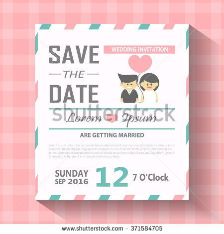 Wedding Invitation Card Template Cute Hipster Stock Vector ...