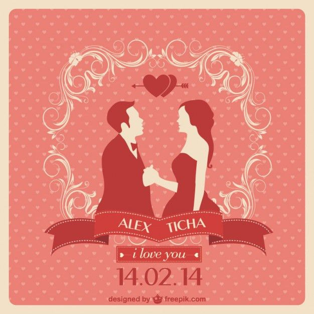 Red wedding invitation with a couple in love Vector | Free Download