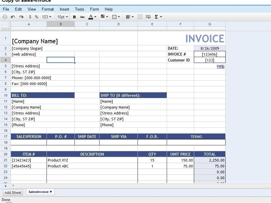 Invoice Template Google Drive - Best Resume Collection