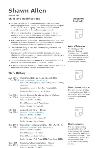 Publisher Resume samples - VisualCV resume samples database
