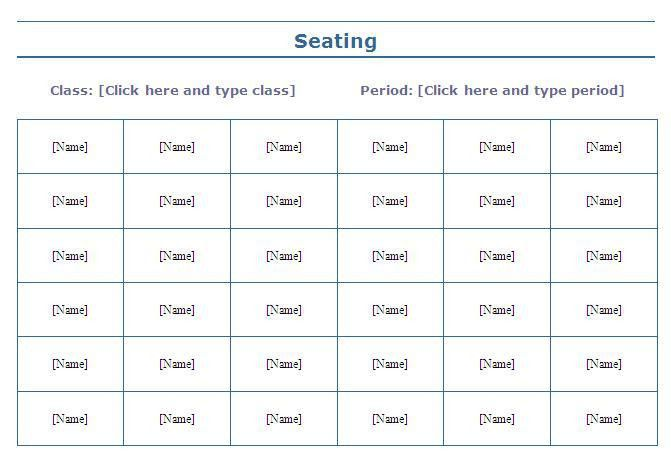 Classroom Seating Chart Sample | Free Layout & Format