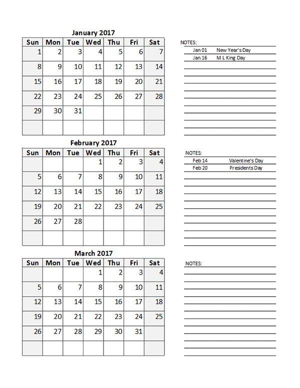 2017 Quarterly Calendar Spreadsheet - Free Printable Templates