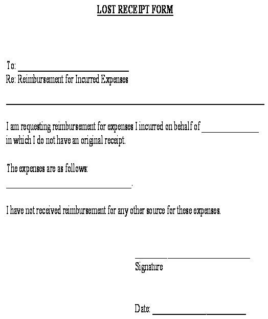 Lost Receipt Form template - Download from Accounting and Finance ...