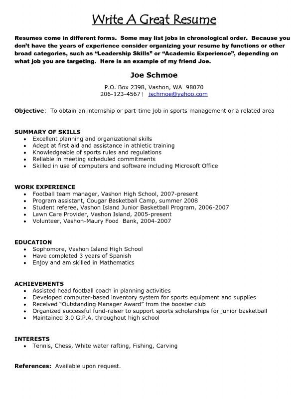 An Example Of A Resume For A Job. An Example Of A Good Resume How ...
