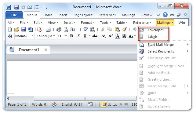 Where are the Envelopes and Labels in Microsoft Word 2007, 2010 ...