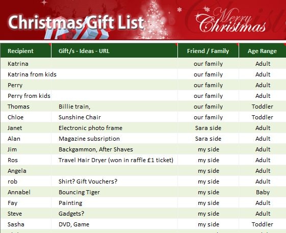 Christmas Gift List - My Excel Templates