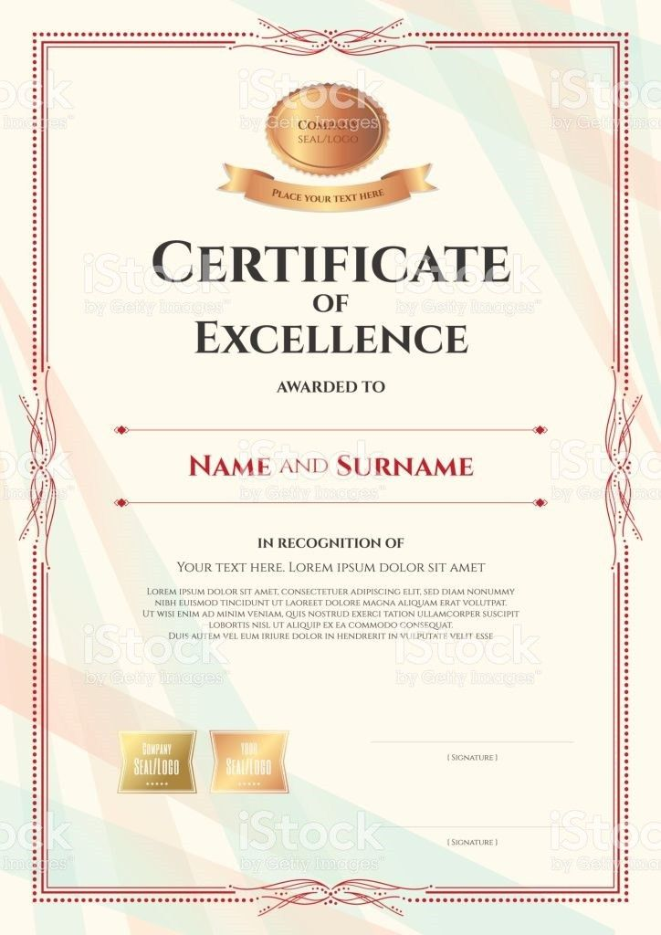 Portrait Certificate Of Excellence Template With Vintage Border ...