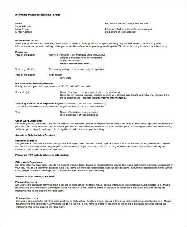 Sample Internship Resume   7+ Examples In Word, PDF