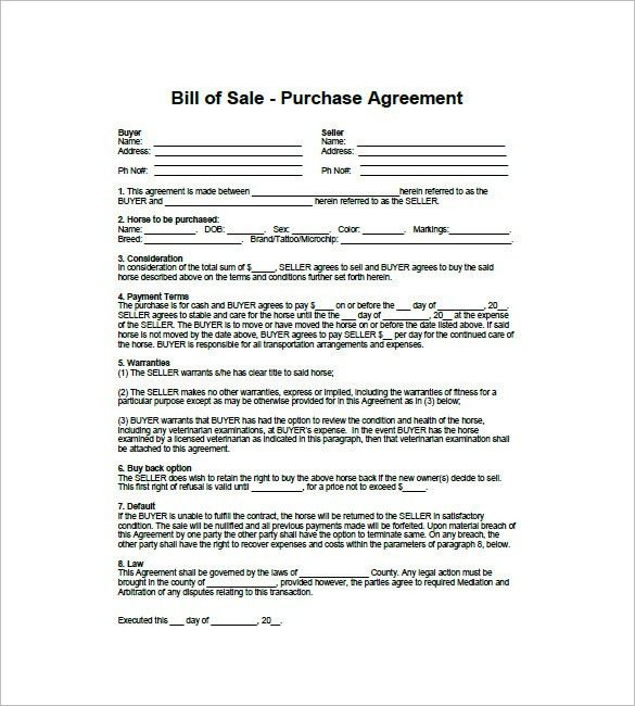 Horse Bill of Sale – 8+ Free Word, Excel, PDF Format Downlaod ...