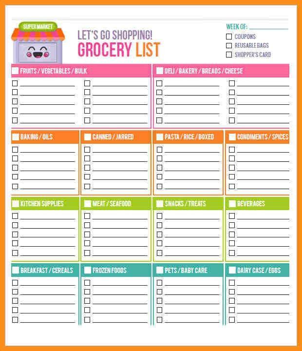 Printable Shopping List. Free Printable Shopping List Template ...