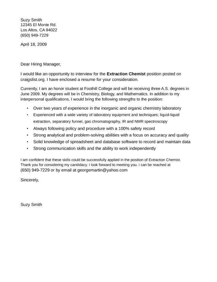 chemistry teacher cover letter