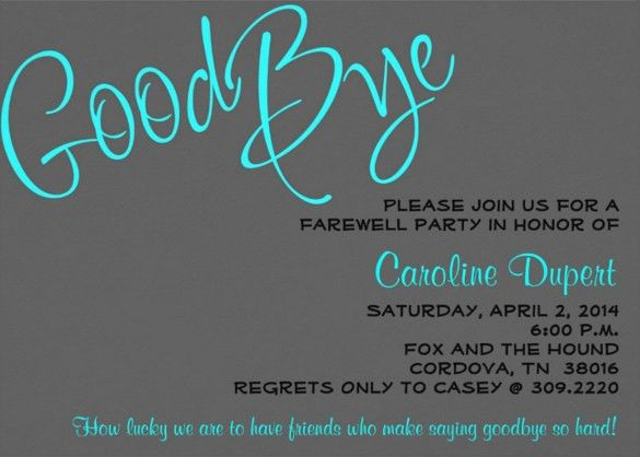 8 Fabulous Farewell Party Invitation Email Template | neabux.com