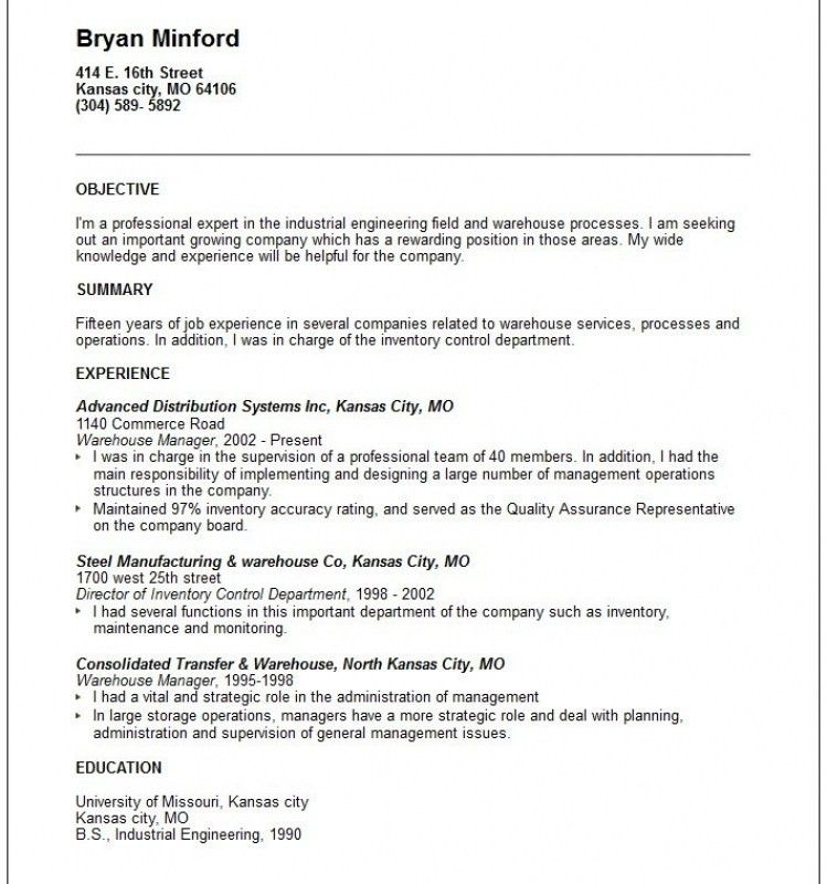 Warehouse Objective For Resume Examples | Template Design
