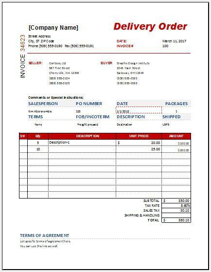 Delivery Order Form Templates for MS Word & Excel | Word & Excel ...