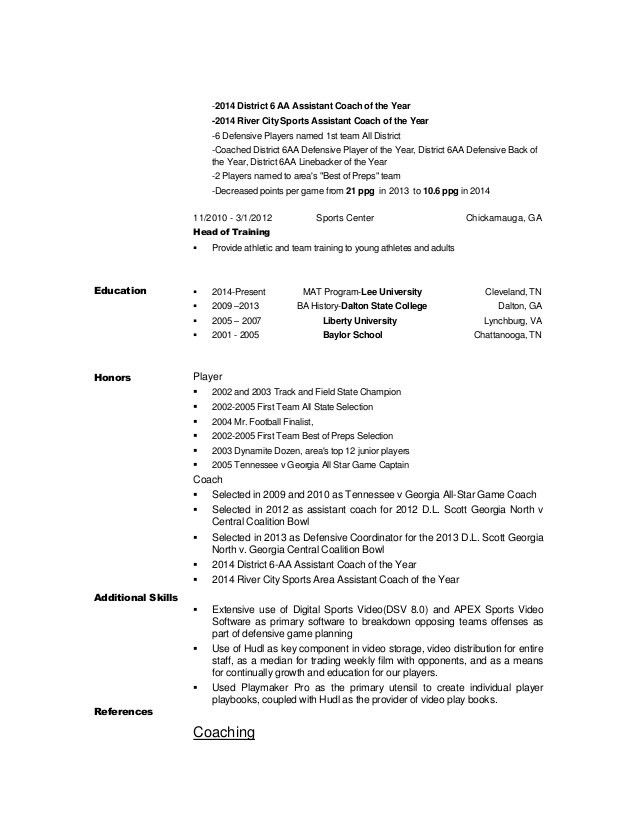 Athletic Training Resume Sample - Osclues.com