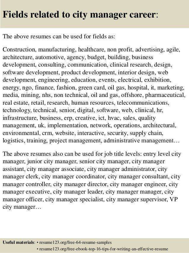 Top 8 city manager resume samples
