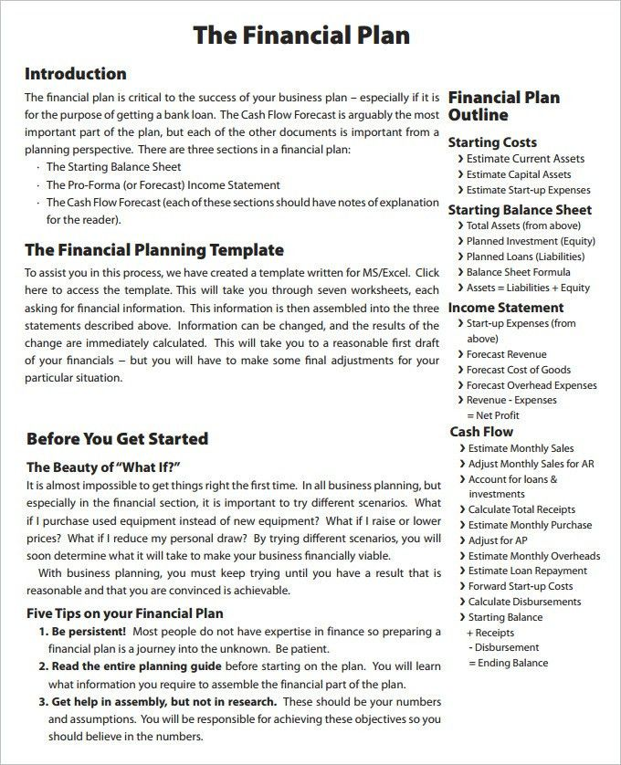 Financial Business Plan Templates - 21 Free & Premium Word, Excel ...