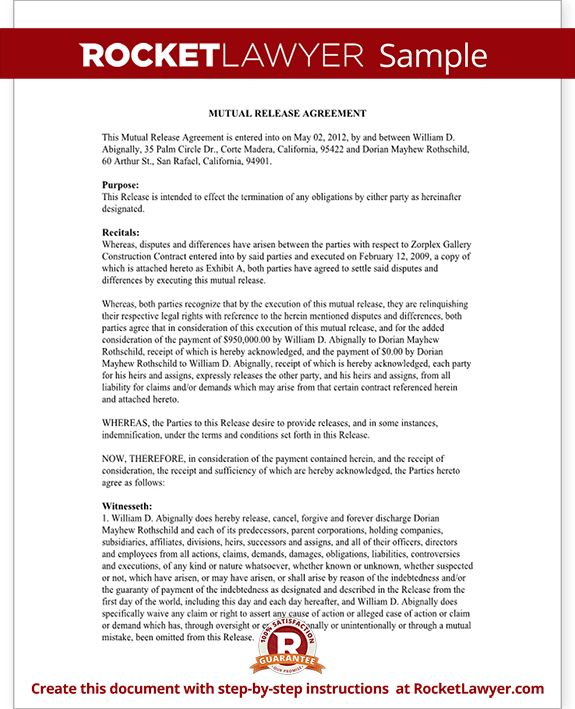 Mutual Release Agreement Form - Mutual Release and Settlement ...