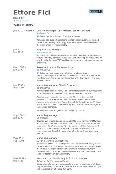 Country Manager Resume samples - VisualCV resume samples database