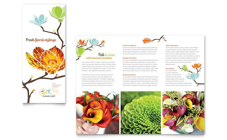 Flower Shop Tri Fold Brochure Template - Word & Publisher
