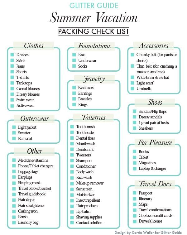 Vacation Checklist. Ultimatepackinglist Sample Vacation Checklist ...