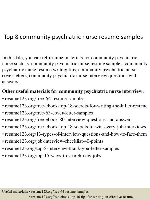 top 8 community psychiatric nurse resume samples 1