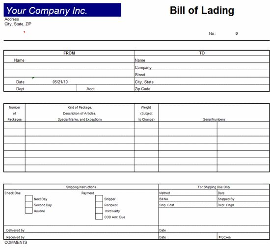 Bill Of Lading Invoice Template – Excel 2007 Invoice Template ...