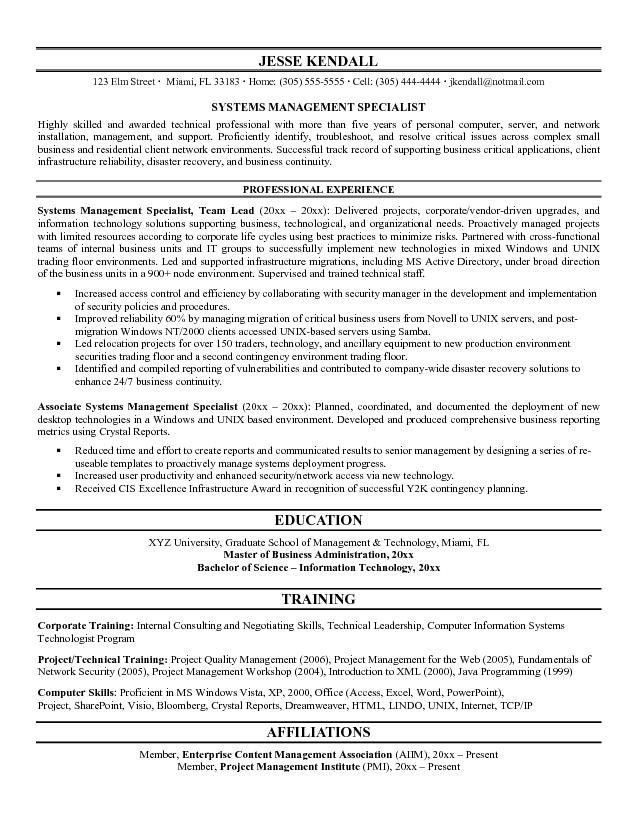 Example Systems Architect Resume Sample