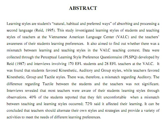 Examples of abstracts (Education)