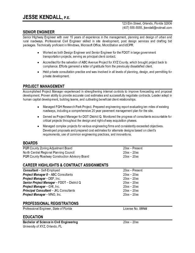 professional engineer resume template free professional engineer ...