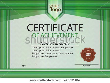 Green Certificate Achievement Template Horizontal Winning Stock ...